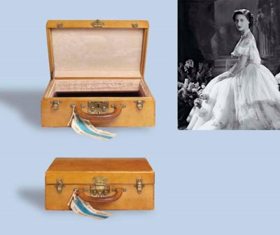 A LEATHER JEWELLERY CASE, BY L