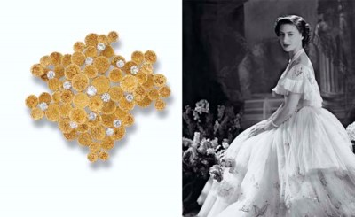 A DIAMOND-SET LILYPAD BROOCH,