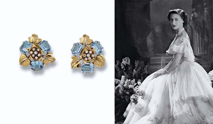 A PAIR OF AQUAMARINE AND DIAMOND EARCLIPS, BY JOHN DONALD