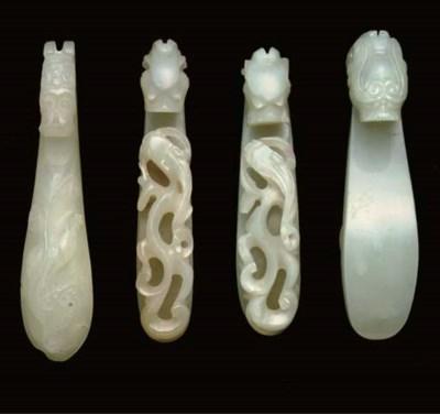 Four Chinese pale celdadon jad