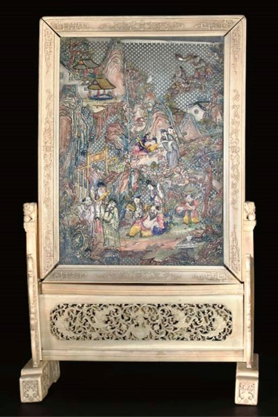 A Chinese stained ivory panel