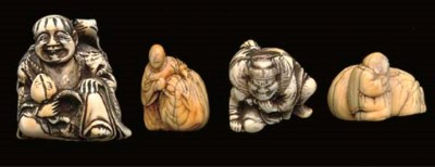 Four ivory netsuke, 18th centu