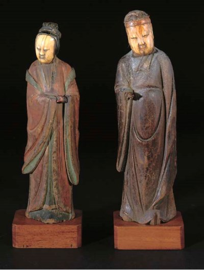 Chinese ivory and wood figures