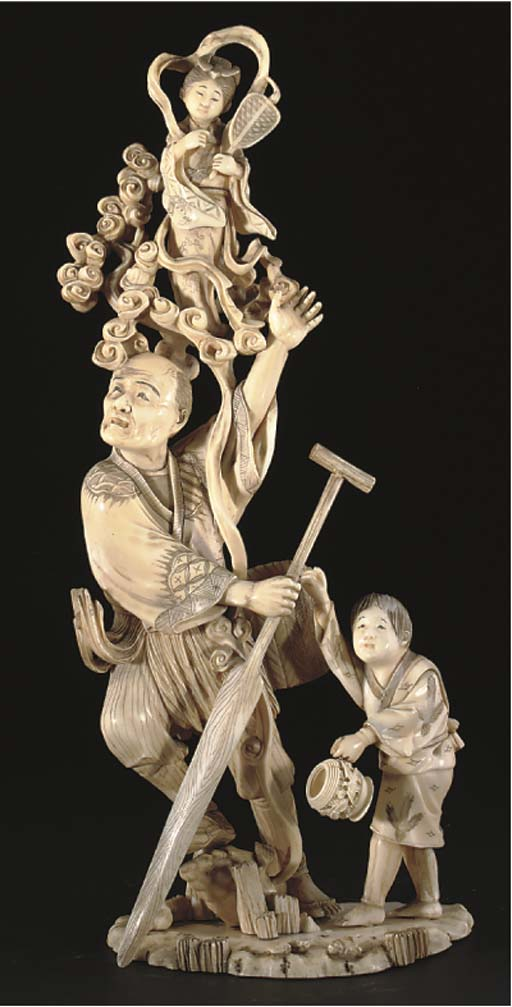 A Japanese sectional ivory oki