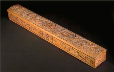 A Chinese carved wood scroll b