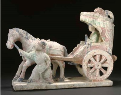 A Chinese Ming style stone car