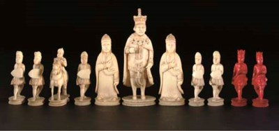 A part Chinese ivory chess set