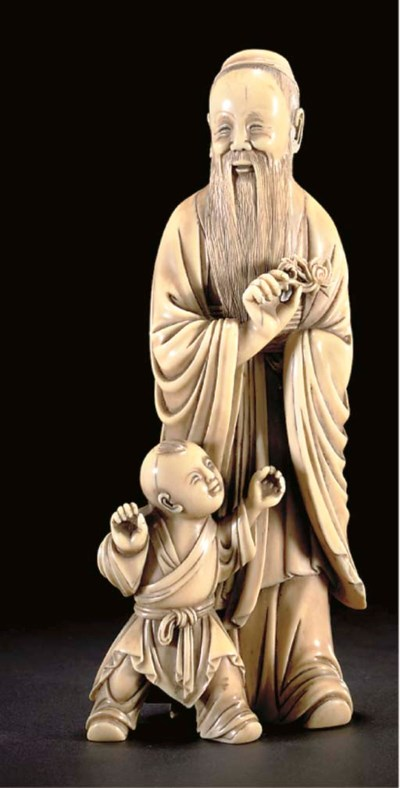An ivory carving of a sage and