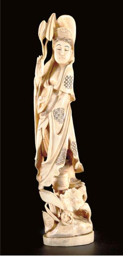 A Japanese ivory okimono of Ka