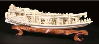 A Chinese ivory model of a ple