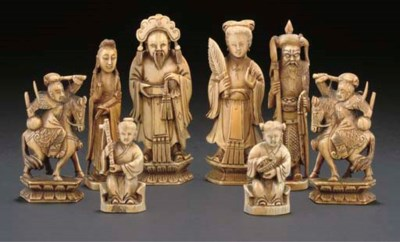 Two Chinese ivory part chess s