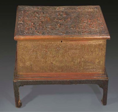 A Thai red and gilt lacquer co