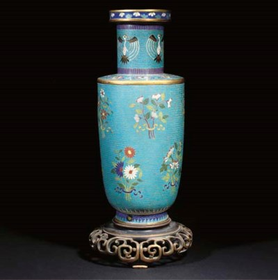 A Chinese cloisonne rouleau va