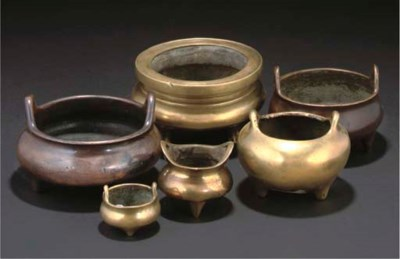 Six various Chinese bronze and