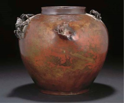 A Japanese patinated globular