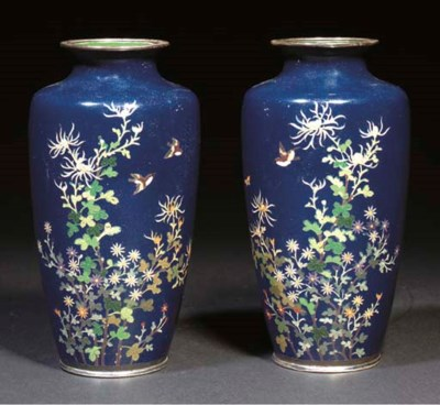 A pair of Japanese silver and