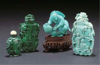 Two Chinese Malachite snuff bo