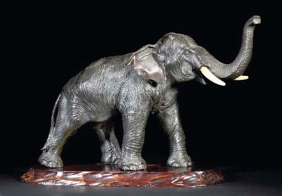 A Japanese bronze model of an