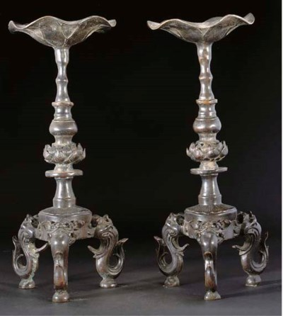 A pair of Japanese bronze pric