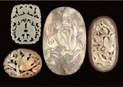 Four Chinese celadon jade plaq