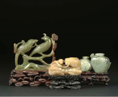 A Chinese jade monkey and hors