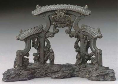 A Japanese bronze ornament, Ed