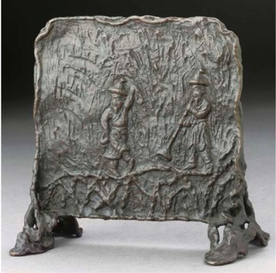 A Japanese bronze table screen