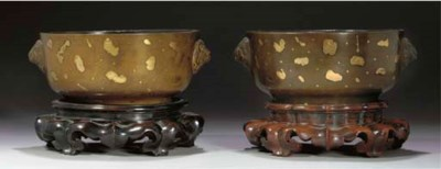 A pair of Chinese bronze gold