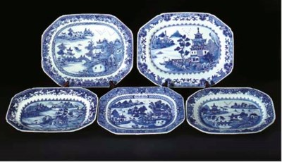 Five Chinese blue and white me