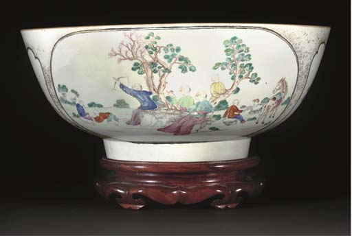 A famille rose punch bowl, 18t