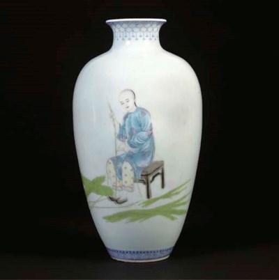 A famille rose ovoid vase, iro