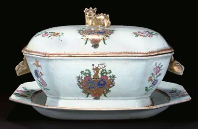 A famille rose armorial tureen