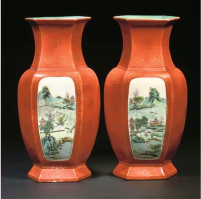 A pair of Chinese orange groun