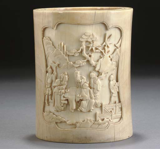 A Chinese ivory brushpot, 18th