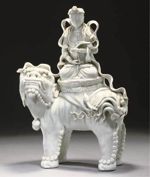 A blanc de chine model of Guan