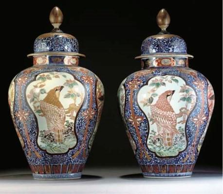 A pair of Japanese Imari balus