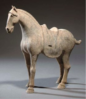 A Chinese pottery model of a horse, Tang dynasty