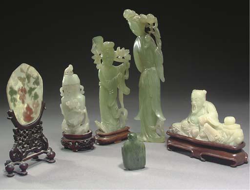 Six Chinese jade and hardstone