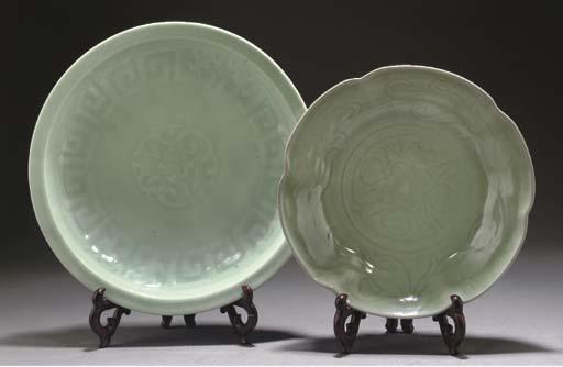A Chinese pale celadon glazed