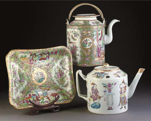 Two Cantonese teapots and cove