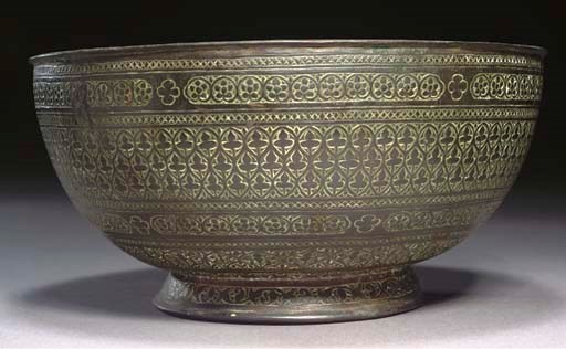 AN ENGRAVED BRASS BOWL, INDIA,