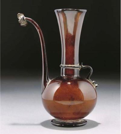 A GLASS EWER, QAJAR IRAN, 19TH