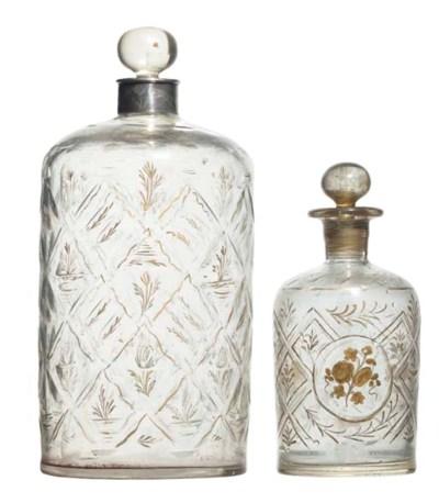 Two Beykoz clear glass bottles