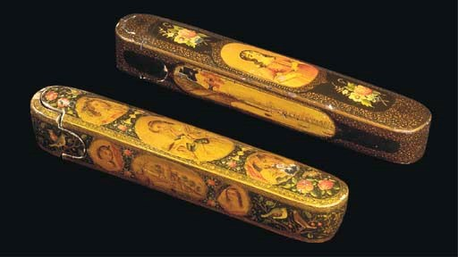 TWO QAJAR POLYCHROME LACQUER P