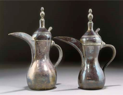 TWO MIDDLE EASTERN BRASS COFFE