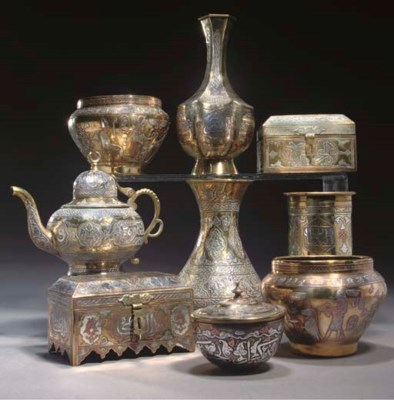 A GROUP OF NINE CAIROWARE ITEM