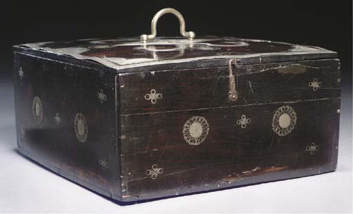 A SILVER INLAID EBONY BOX, IND