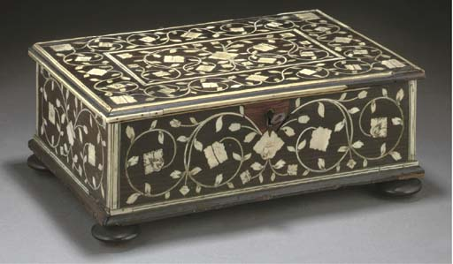 An Anglo-Indian bone inlaid bo