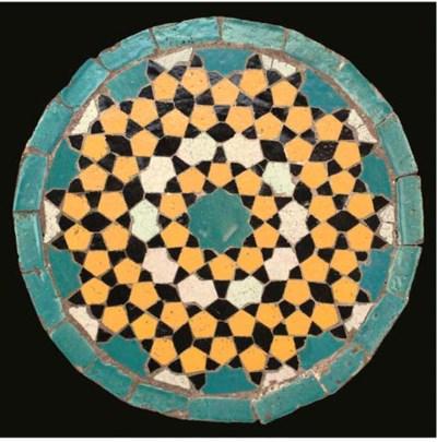 A Qajar circular pottery mosai