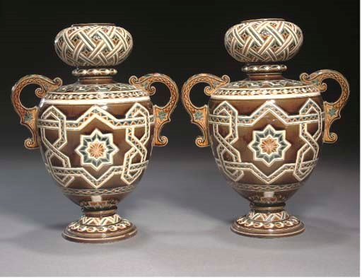 A pair of continental Majolica